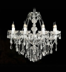 Crystal Drop Murano Glass 8 Light Chandelier With Bobeches.