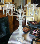 Murano Style Table Lamp With Hanging Crystal Prisms