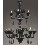 12 Light Tiered Coloured Murano Glass Style Chandelier