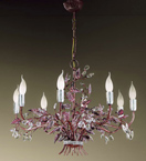 Garden Design Chandelier With Hand Worked Leaves and Glass Flowers