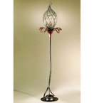 Soffiati floor lamp in the shape of a flower bud Made from iron & blown glass