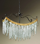 Stalattite Design Curved Chandelier with Ice Shard Effect Glass