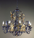 Fiamme Design Black Frame Chandelier with upward spiraling gold details