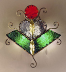 Decó Design metal wall light with coloured murano glass details