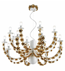 Trimming Design Chandelier with Gold Roses