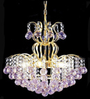 Elegant Coloured Crystal 6 Light Chandelier